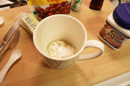 All ingredients in microwave-safe mug